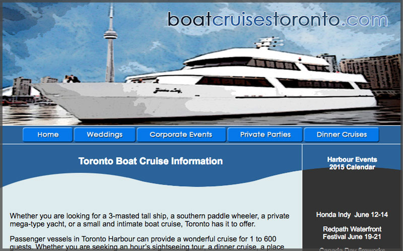 Home page of www.boatcruisestoronto.com website.