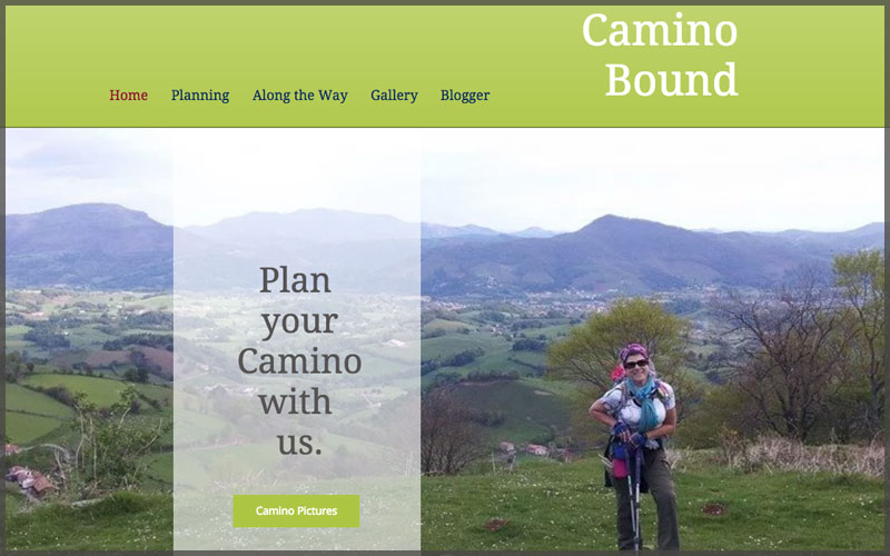 Home page of www.caminobound.com website.