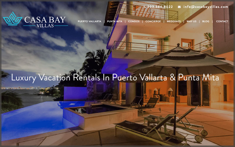 Home page of www.casabayvillas.com website.
