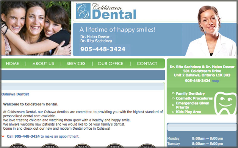 Home page of www.coldstreamdental.com website.
