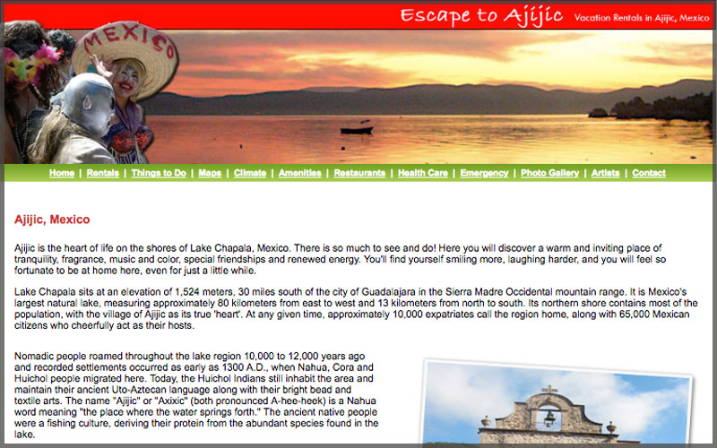 Home page of www.escapetoajijic.com website.