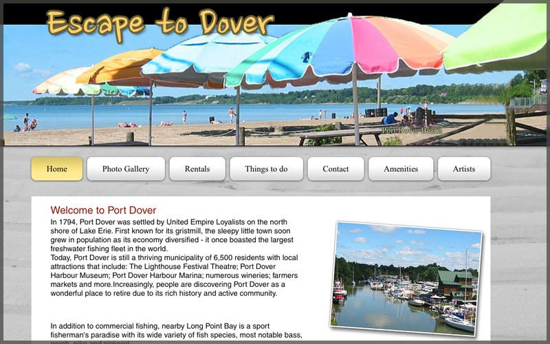 Home page of www.escapetodover.com website.