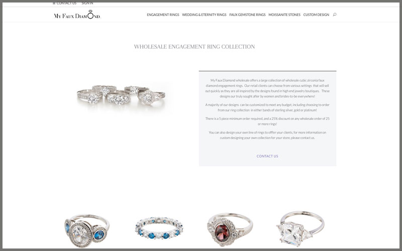 Home page of www.myfauxdiamond.com website.