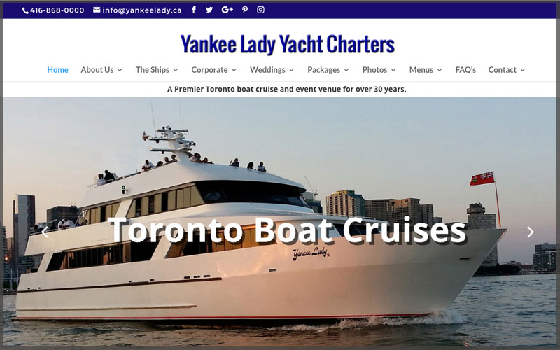 Home page of www.yankeelady.ca website.